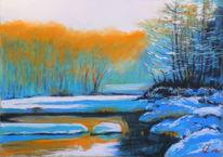 Landschaftsmalerei, Winterstimmung, Oberengadin, Pastellmalerei