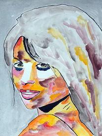 Portrait, Aquarellmalerei, Camila cabello, Mischtechnik