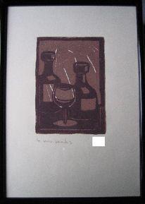 Bunt, Gegenständlich, Wein, Linol