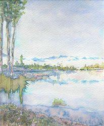 Aquarellmalerei, Landschaft, Ausblick, Grafik