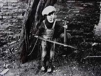 Junge, Geige, Fotografie, Außen