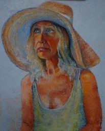 Dame mit hut, Portrait, Iryna, Malerei