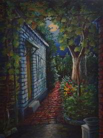 Nacht, Traube, Haus, Mondlichtweg