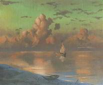 Meer, Volken, Abend, Boot