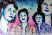 Malerei, Portrait, Mädchen, Figural