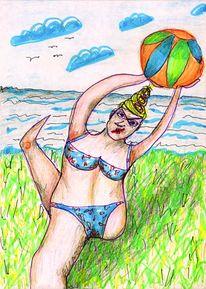 Badeanzug, Meer, Sommer, Zeichnung
