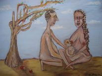 Mutter, Kind, Baum, Brust