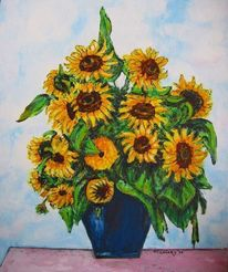 Sonnenblumen, Gelb, Sommer, Blau