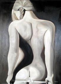 Rücken, Unschuld, Malerei, Schwarz weiß