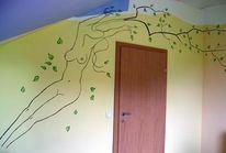 Weiblich, Zweig, Malerei, Wandmalerei