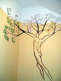 Jahreszeiten, Malerei, Baum, Wandmalerei