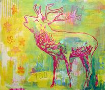 Malerei, Rotwild,