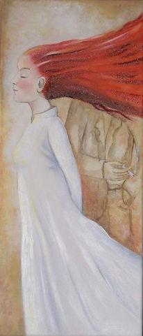 Malerei, Haare, Rot, Mädchen