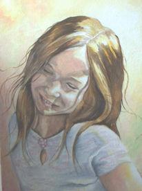 Figural, Mädchen, Lachen, Malerei