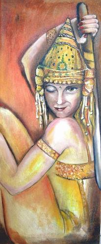 Acrylmalerei, Mädchen, Lächeln, Schwert