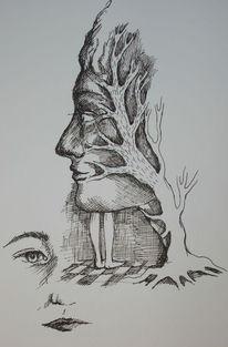 Augen, Gesicht, Bein, Baum