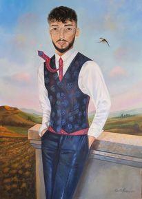 International, Acrylportrait, Zeitgenössische kunst, Figurativ