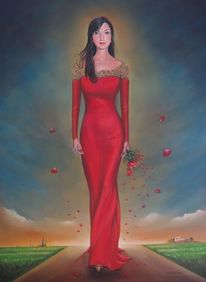Portrait, Farben, Surrealistisch, Lady in rot