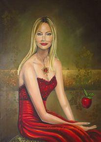 Zeitgenössisch, Ölmalerei, Apfel, Rot
