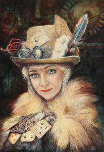 Frau, Porträtmalerei, Vintage, Kartenspiel