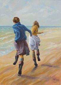 Mädchen, Realismus, Strand, Menschen