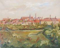 Malerei, Stadt, Rothenburg, Altstadt