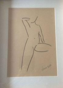 Kohlezeichnung, Akt, Skizze, Zeichnung