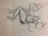Aktzeichnung, Zeichnen, Brust, Kohlezeichnung