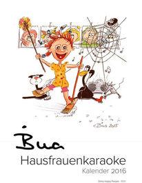 Cartoon, Bildkalender, Comic, Hausfrauenkaraoke
