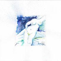 Aquarellmalerei, Skizze, Akt, Brust