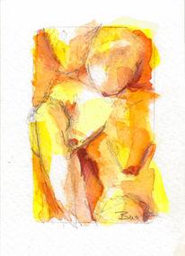 Akt, Gelb, Aktzeichnung, Aquarell