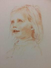 Rötel, Mädchen, Zeichnung, Portrait