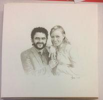 Hochzeit, Paar, Goldring, Zeichnungen