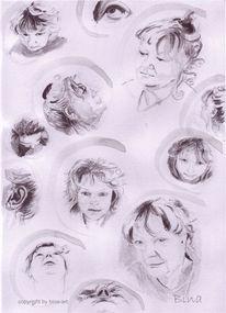 Tusche, Portrait, Selbstportrait, Selfie