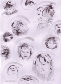 Selbstportrait, Selfie, Tuschmalerei, Portrait