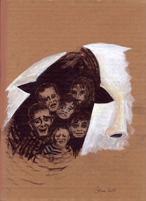 Maskerade, Kriegskinder, Alternativlos, Zeichnungen