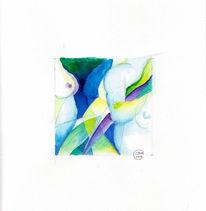 Tuschmalerei, Gelb, Aktzeichnung, Blau