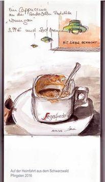 Tasse, Skizzenbuch, Aquarellmalerei, Zeichnungen