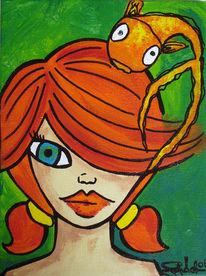 Fisch, Mädchen, Malerei, Acrylmalerei