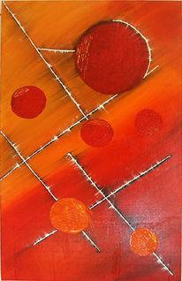 Malerei, Orange, Rot, Abstrakt