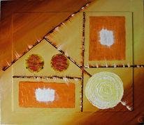 Braun, Abstrakt, Gelb, Malerei