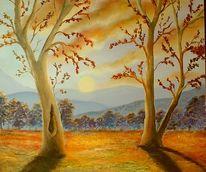 Abend, Sonnenuntergang, Gold, Malerei