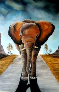 Landstrasse, Elefant, Suche, Gewitter