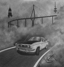 Nebel, Fernsehturm, Hamburg, Köhlbrandbrücke