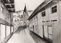 Zeichnung, Straße, Kirche st, Matrei