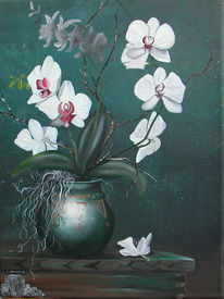 Vase, Grün, Phalaenopsis, Weiß