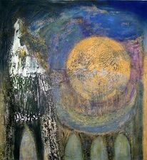 Nacht, Kirche, Abstrakt, Mond