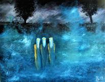 Engel, Nebel wasser bäume, Morgen licht, Malerei