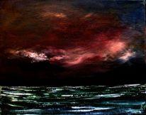 Meer, Wolken, Rot, Gewitter stimmung