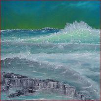 Meer, Welle, Ölmalerei, Wasser